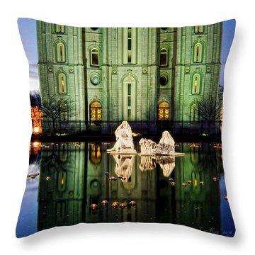 Slc Temple Nativity Throw Pillow by La Rae  Roberts