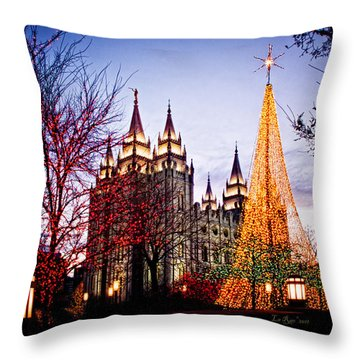 Slc Temple Tree Light Throw Pillow by La Rae  Roberts