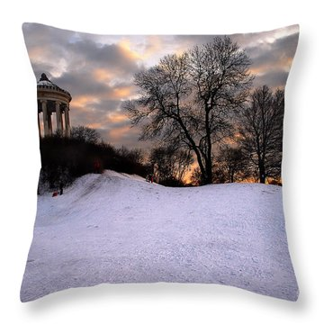 Sledge Ride Throw Pillow by Hannes Cmarits