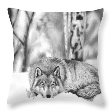 Sleeping In The Snow Throw Pillow
