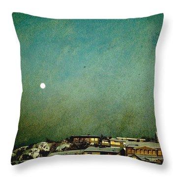 Sleepy Winter Town Throw Pillow