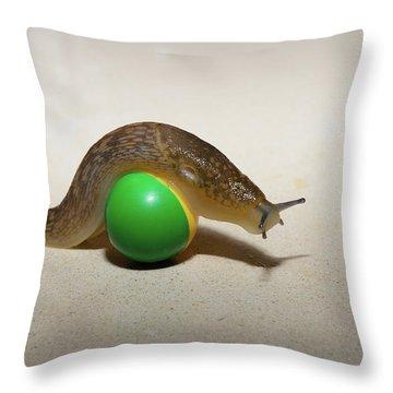 Slug On The Ball Throw Pillow
