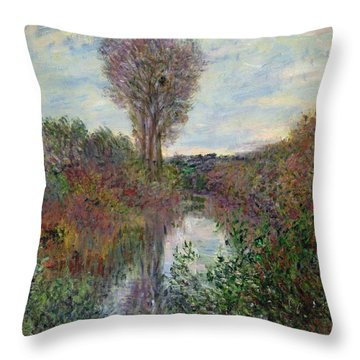 Small Branch Of The Seine Throw Pillow by Claude Monet