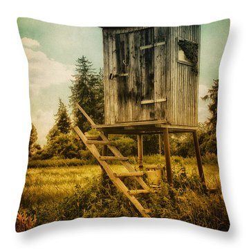 Small Cabin With Legs Throw Pillow by Jutta Maria Pusl