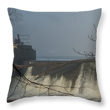 Small Dam In Fog Throw Pillow