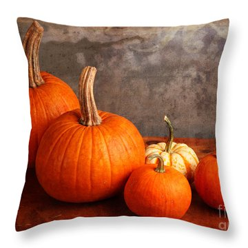 Throw Pillow featuring the photograph Small Decorative Pumpkins by Verena Matthew