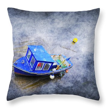 Small Fisherman Boat Throw Pillow by Svetlana Sewell
