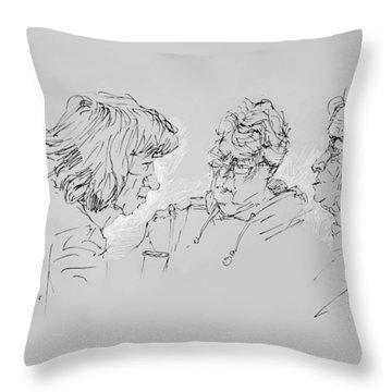 Small Talk  Over Coffee Throw Pillow