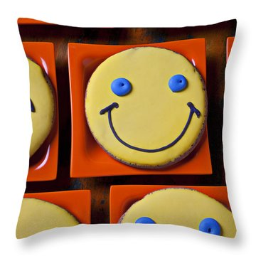 Smiley Face Cookies Throw Pillow by Garry Gay