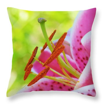 Smiling Face Mona Lisa Lily Throw Pillow by Michelle Wiarda