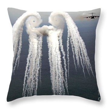 Smoke Angel Created By Wingtip Vortices Throw Pillow by Photo Researchers