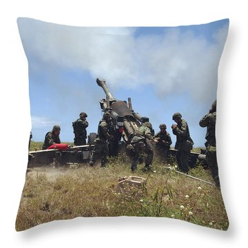 Smoke Fills The Air As Marines Fire Throw Pillow by Stocktrek Images