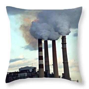 Smokestacks At Dusk Throw Pillow by Jo Sheehan