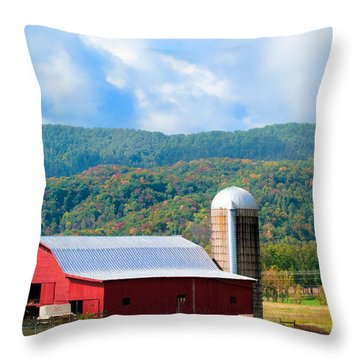 Smokie Mountain Barn Throw Pillow by Betty LaRue