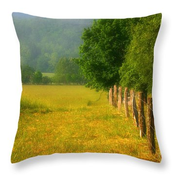 Smoky Mountains Cades Cove Throw Pillow