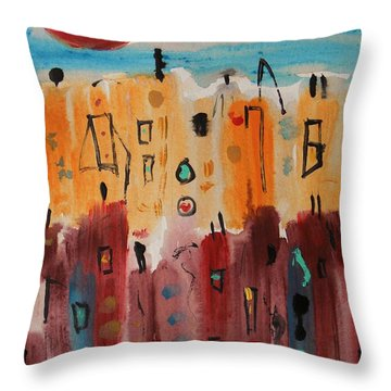Smooth Red Moon Throw Pillow by Mary Carol Williams