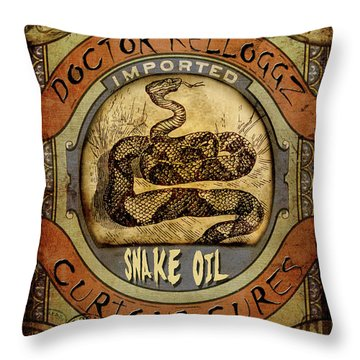 Throw Pillow featuring the digital art Snake Oil by Nada Meeks