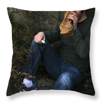 Sniffing Glue Throw Pillow by Photo Researchers, Inc.