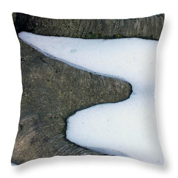 Snow Abstract Throw Pillow by Lisa Phillips
