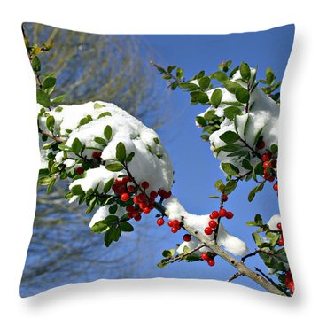 Snow Berrys Throw Pillow