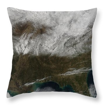 Snow Cover Stretching From Northeastern Throw Pillow by Stocktrek Images