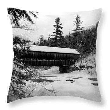 Snow Covered Bridge Throw Pillow