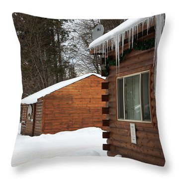 Snow Covered General Store Throw Pillow by Ann Murphy