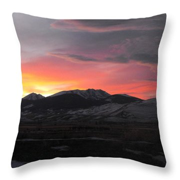Snow Covered Mountain Sunset Throw Pillow