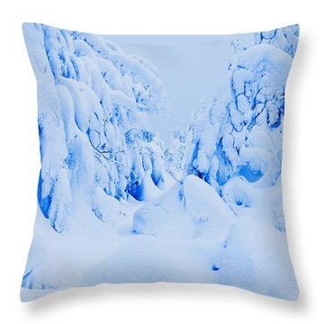 Snow-covered To Vallee Des Fantomes Throw Pillow by Yves Marcoux