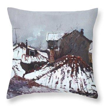 Snow In Elbasan Throw Pillow