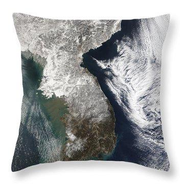 Snow In Korea Throw Pillow by Stocktrek Images
