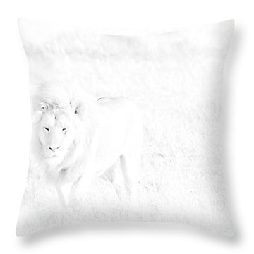 Snow Lion Throw Pillow by Darcy Michaelchuk