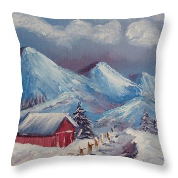 Snow Path Throw Pillow by Peggy King