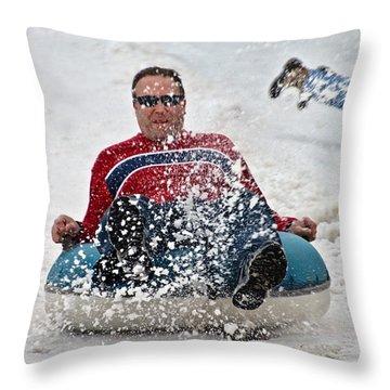 Snow Tubes Throw Pillow by Susan Leggett