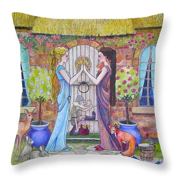Snow White And Rose Red Throw Pillow