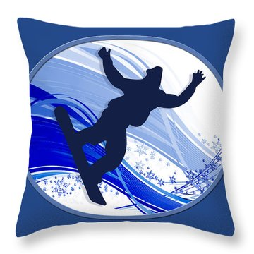 Snowboarding And Snowflakes Throw Pillow by Elaine Plesser