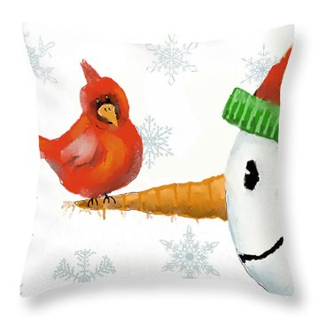 Throw Pillow featuring the digital art Snowman And The Cardinal by Arline Wagner