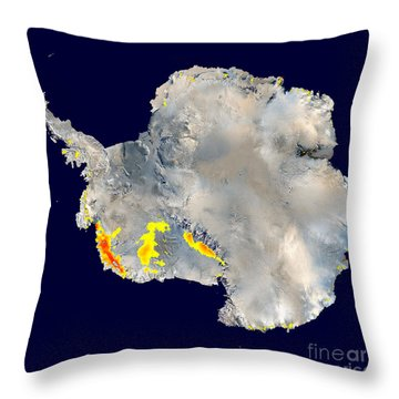 Snowmelt In Antarctica Throw Pillow