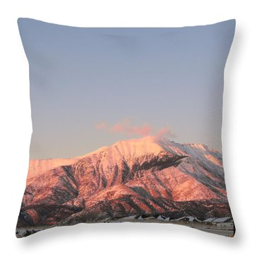 Snowy Mountain At Sunset Throw Pillow