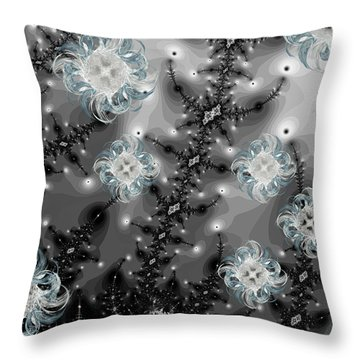 Snowy Night II Fractal Throw Pillow