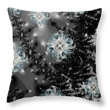 Snowy Night IIi Fractal Throw Pillow by Betsy Knapp