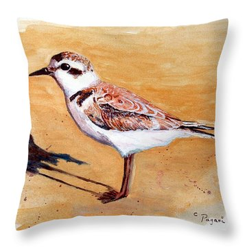 Snowy Plover Throw Pillow by Chriss Pagani