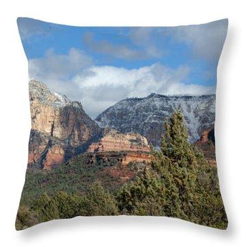 Snowy Sedona Afternoon Throw Pillow by Sandra Bronstein