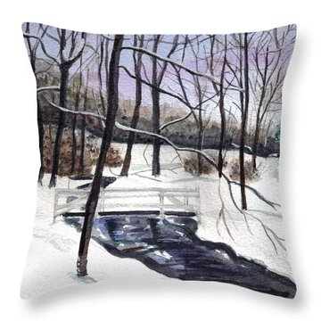 Snowy Shawnee Stream Throw Pillow