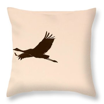 Soaring Sandhills Silhouette Throw Pillow by Carol Groenen