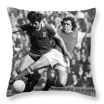 Soccer Tackle, 1976 Throw Pillow by Granger