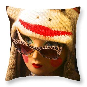 Sock Monkey Zebra Glasses Throw Pillow by Kym Backland