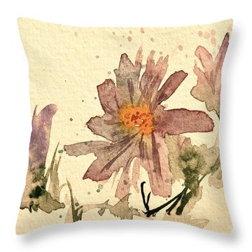 Soft Asters Aged Look Throw Pillow by Beverley Harper Tinsley