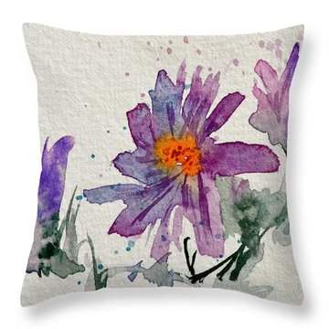 Soft Asters Throw Pillow by Beverley Harper Tinsley
