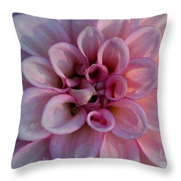 Soft Pink Dahlia Throw Pillow by Erica Hanel
